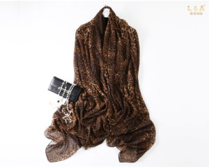 Brown Leopard Polyester Chiffon Scarf pictures & photos