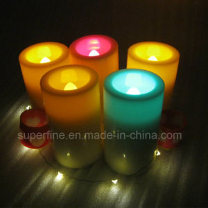 Outdoor Garden Waterproof Battery Plastic Romantic Amber Luminary Lighting Votive LED Candles pictures & photos