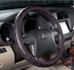 Car Steering Wheel Cover Ecological Leather-Golden
