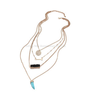 Fashion Multi Layers Geometric Chains Necklaces & Pendant Women Resin Turquoise Gold Plated Accessories Jewelry pictures & photos