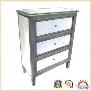 Bedroom Furniture 3-Drawers Wooden Mirrored Accent Chest pictures & photos