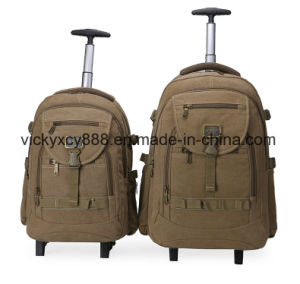 Double Shoulder Wheeled Trolley Canvas Business Travel Laptop Computer Backpack pictures & photos