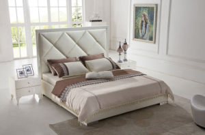 Modern Bedroom Furniture Genuine Leather Hotel Bed (HC1206) pictures & photos