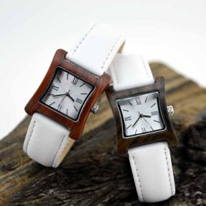 White Leather Band Wooden Watch pictures & photos
