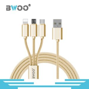 3 in 1 Nylon Braided USB Cable with Micro Lightning Type-C Pin pictures & photos