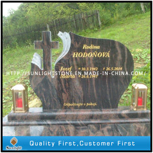 High Polished Absolute Shanxi/India Black Granite Monument with Flower Carving pictures & photos