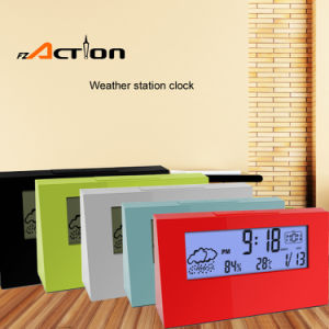 Indoor Temperature Digital Alarm Desk Clock with Weather Station pictures & photos