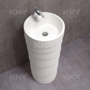Round Solid Surface Stone Pedestal Wash Basin (B170908) pictures & photos