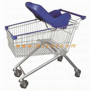 Supermarket Retail Store Comvenient Shopping Trolley with Soft Baby Seat pictures & photos