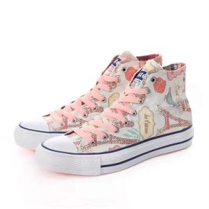 Canvas Fabric Ankle Bootie Rubber Sole Print Fabric Shoes Short Boot pictures & photos