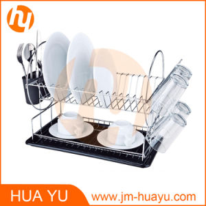Chrome-Plated Steel 2-Tier Dish Rack with Drainboard and Cutlery Cup pictures & photos