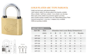 Solid Gold Plated Padlock Factory Offer High Quality Door Lock pictures & photos