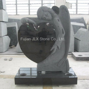 European Black Granite Angel Heart Design Headstones pictures & photos