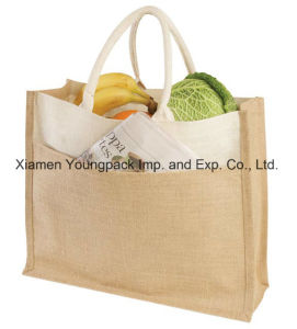 Promotion Custom Eco-Friendly Embroidered Jute Tote Bag with Knotted Rope Handles pictures & photos