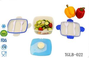 Plastic Lunch Box Food Container with Ice Pack with cutlery