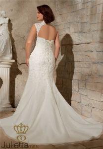 2017 Venice Lace Appliques on Soft Net Plus Size Bridal Wedding Dress pictures & photos