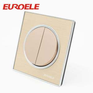 3 Gang 250V/10A 86*86mm Gold Color Acrylic Round Wall Switch pictures & photos