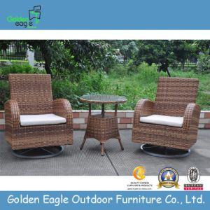 Rattan Metal Revolving Rocker Chairs and Table