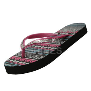Sequin and Print Sock Ladies Flip Flop pictures & photos