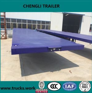 Container Flat Bed Semi Trailer Dimentions with Load Capacity 60 Tons pictures & photos