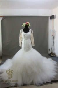 Mermaid Wedding Dresses Court Train Long Sleeve Customized Cheap Brides Dress Lace Bridal Gown