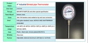 "023 4"" Industrial Bimetal Pipe Thermometer pictures & photos"