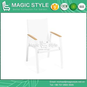 White Color Textile Dining Chair and Table with Plastic Slat pictures & photos