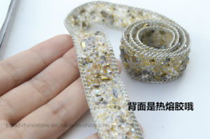 DIY Accessories 2cm Iron on Chain Rhinestone Trim Hot Fix Rhinestone Mesh for Sew (TS-040) pictures & photos