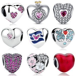 Heart Shape Beads 925 Sterling Slver European Charms for Bracelet Making pictures & photos