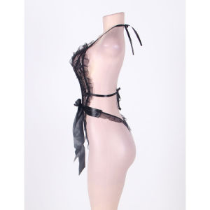 Women′s Lace Ruffle Teddy Lingerie with Wrist Restraints pictures & photos