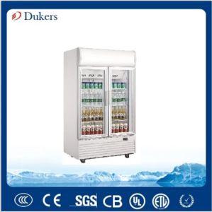 400L 2 Doors No Frost Glass Door Display Cooler for Drinks