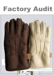 Fashion Suede Fabric Winter Leather Gloves for Women pictures & photos
