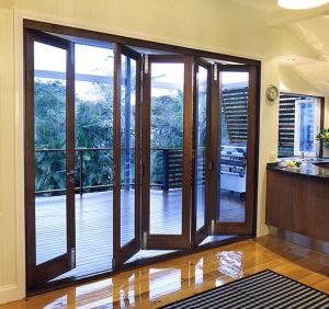 Woodwin Double Tempered Glass Wood and Aluminum Composite Folding Door pictures & photos