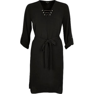 Fashion Black Gold Bar V-Neck Women Shirt Dress