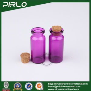 10ml Purple Color Cylinder Round Glass Bottle Cork Stopper Empty Cosmetic Pendant Bottle Empty Glass Perfume Bottle with Cork pictures & photos