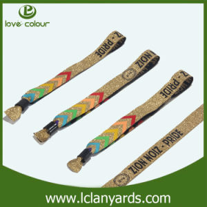 Fashion Design Woven Embroidery Wristband with Metal Tube pictures & photos