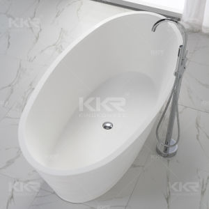 Solid Surface Stone Bathroom Oval Freestanding Bathtub pictures & photos