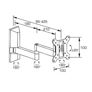 Adjustable TV Wall Mount Fit for 12-22′′ with Cable Management pictures & photos