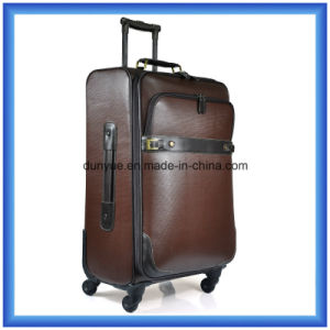 Decent PVC/PU Leather Luggage Suitcase, Customized OEM Travel Trolley Case for Business Trip