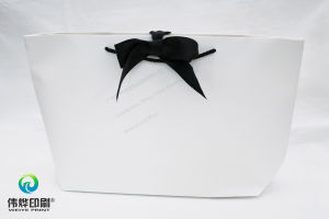 Boat Shape Paper Printing Shopping Packaging Bag (Black Bowknot) pictures & photos