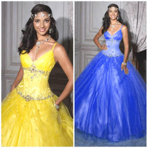 2012 New Sexy Spaghetti Straps A-Line Sheath Jacket Beaded Ruffle Tulle Quinceanera Dresses (QD-030)