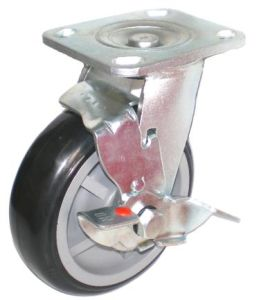 Swivel PU Caster with Side Brake (Black) pictures & photos