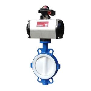 PTFE Lined Wafer Type Butterfly Valve Pn16 pictures & photos
