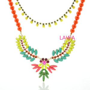 Lady Colorful Resin Beads Alloy Double Chain Choker Necklace Female Necklace Aw252