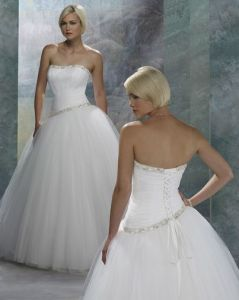 New Wedding Dress, a-Line Ball Gown With Tulle (410113)