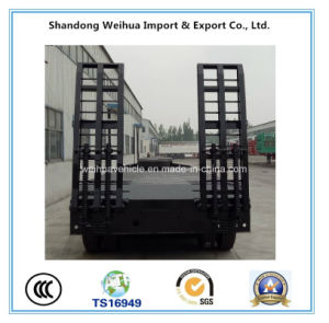 China 80t Heavy Duty Low Bed Semi Trailer with 4 Fuwa Axles pictures & photos