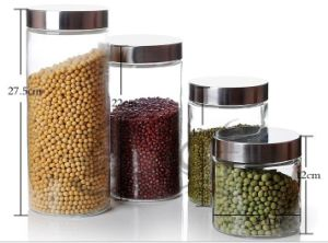 Glass Food Storage Jar with Stainless Steel Lids pictures & photos