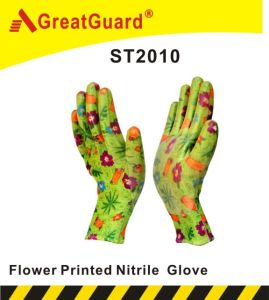 Flowered Printed Regular Smooth Nitrile Glove pictures & photos