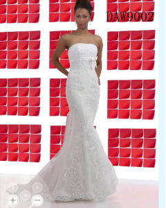 2014 New Wedding Dress Tulle Strapless Straight Neckline Lace Empire Bow Beaded Mermaid Bridal Gown (DAW9002)