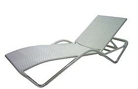 Outdoor Garden Rattan Furniture Un Lounger Carlson White Wicker